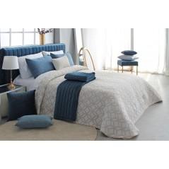 Cuvertura de pat cu model geometric modern Oconor bej cu crem