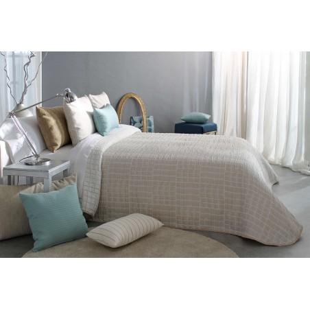 Cuvertura de pat cu forme patrate Ogy bej cu crem