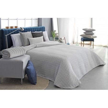 Cuvertura de pat cu forme patrate Ogy gri cu alb
