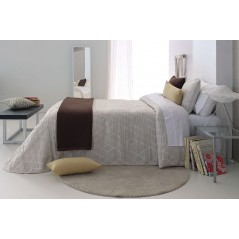 Cuvertura de pat moderna cu model geometric Oklahoma bej cu crem