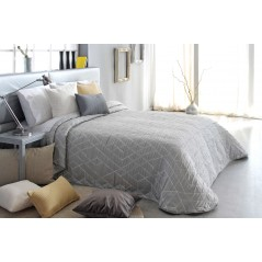 Cuvertura de pat moderna cu model geometric Oklahoma gri cu alb