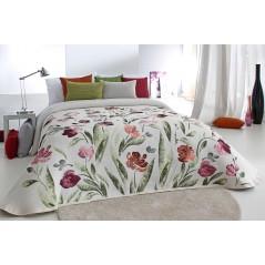 Cuvertura eleganta Serena crem cu model floral