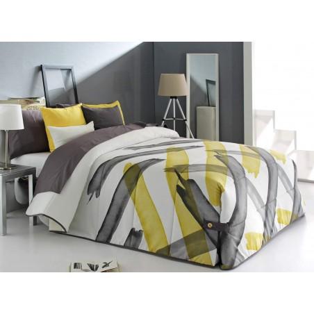 Cuvertura moderna Aren cu model abstract alb cu grej si galben