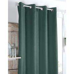 Draperie confectionata cu inele Copenhague Blackout verde intens