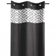 Draperie bumbac confectionata pe inele Teck negru cu model