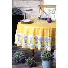 Fata de masa rotunda bumbac Lavande galben cu lila