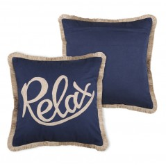 Perna decorativa bumbac Guernezey Relax bleumarin cu auriu