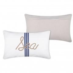 Perna decorativa dreptunghiulara Guernezey Sea alb cu dungi albastre