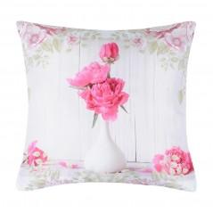 Perna decorativa florala Capeline vase alb cu roz