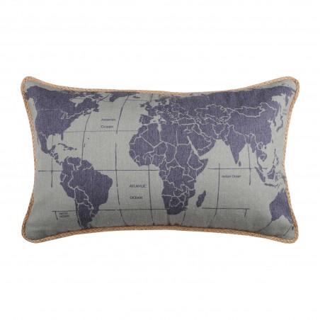 Perna decorativa dreptunghiulara kaki Handcraft harta lumii