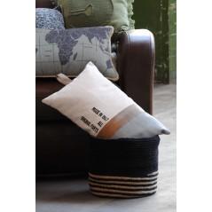 Perna decorativa dreptunghiulara cu maner Handcraft crem cu gri