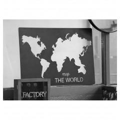 Tablou metal Handcraft negru cu harta lumii