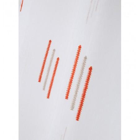 Perdea moderna confectionata pe inele Colorblock alb cu portocaliu