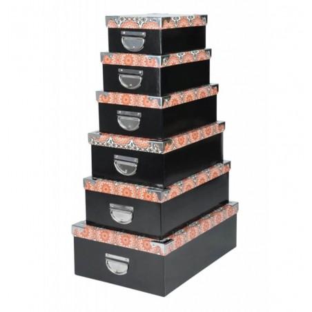 Set 6 cutii depozitare Burundi negru cu model portocaliu