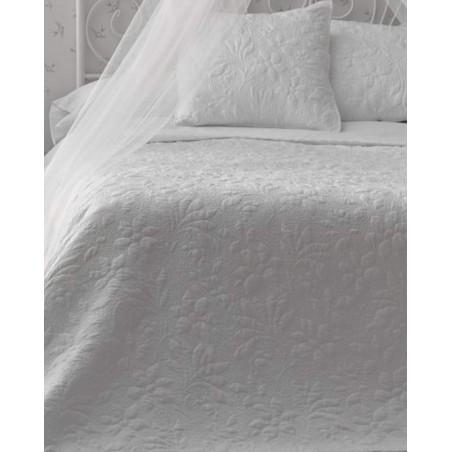 Set cuvertura de pat cu 2 fete de perna Alessia flori albe