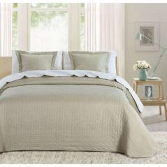 Set cuvertura de pat cu 2 fete de perna Indila bej cu buline albe