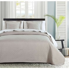Set cuvertura de pat cu 2 fete de perna Indila gri cu buline albe