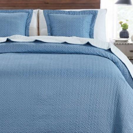 Set cuvertura de pat cu 2 fete de perna Indila albastru cu buline albe
