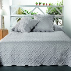 Set cuvertura de pat cu 2 fete de perna Californie gri