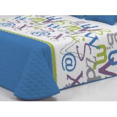 Cuvertura de pat matlasata pentru baieti Grafic 2P albastru cu alb