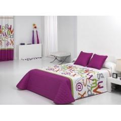 Cuvertura de pat matlasata pentru fete Grafic 2P mov cu alb