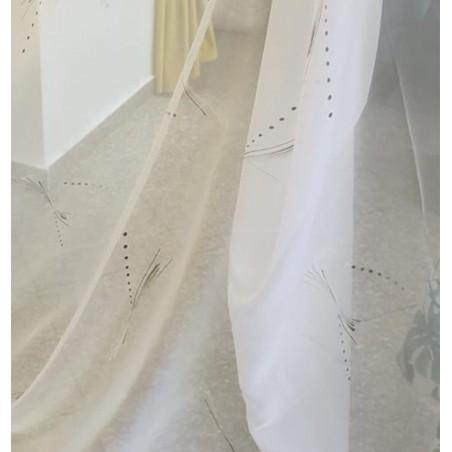 Metraj perdea voal alb cu model discret gri