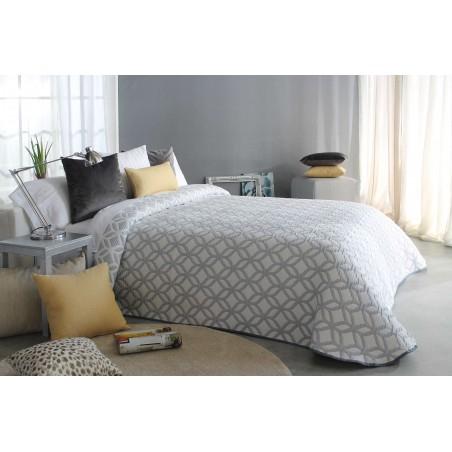 Cuvertura de pat cu model geometric modern Oconor gri cu alb