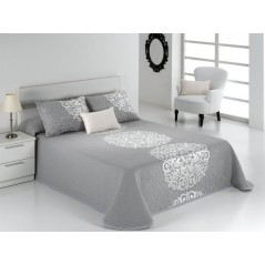 Cuvertura de pat eleganta Presley gri cu model argintiu