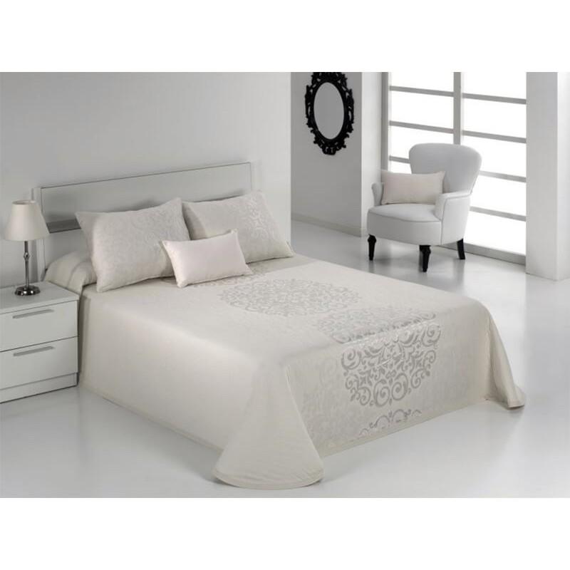 Cuvertura de pat eleganta Presley alb cu model ivoire