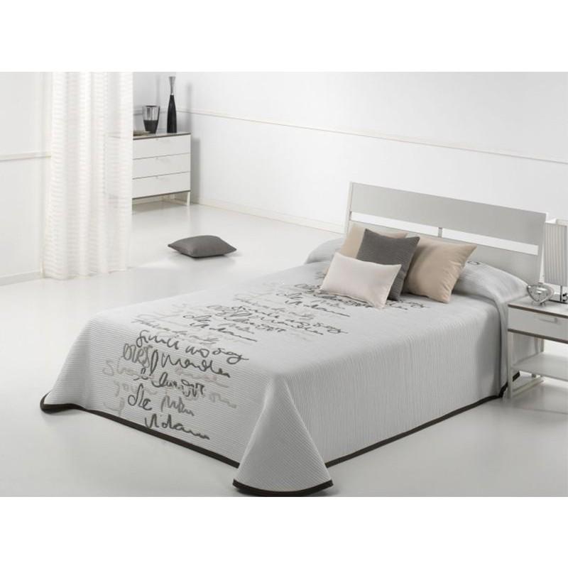 Cuvertura de pat moderna cu scris Letter alb cu bej