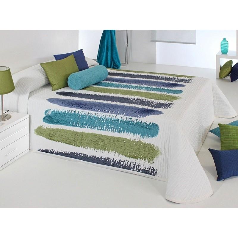 Cuvertura de pat matlasata cu albastru si olive Chandler
