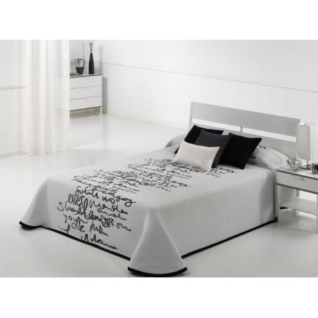 Cuvertura de pat moderna cu scris Letter alb cu gri inchis