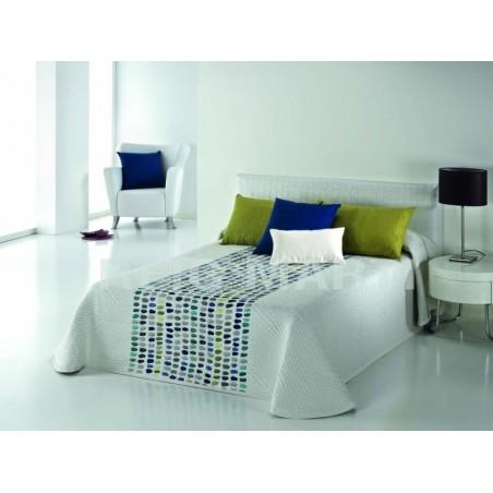 Cuvertura de pat vesela Grain alb cu patratele colorate