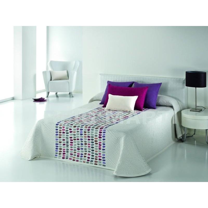 Cuvertura de pat vesela Grain alb cu patratele colorate mov