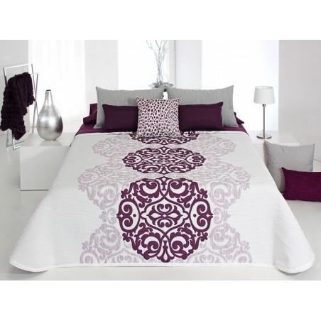 Cuvertura de pat eleganta alb cu mov Loup