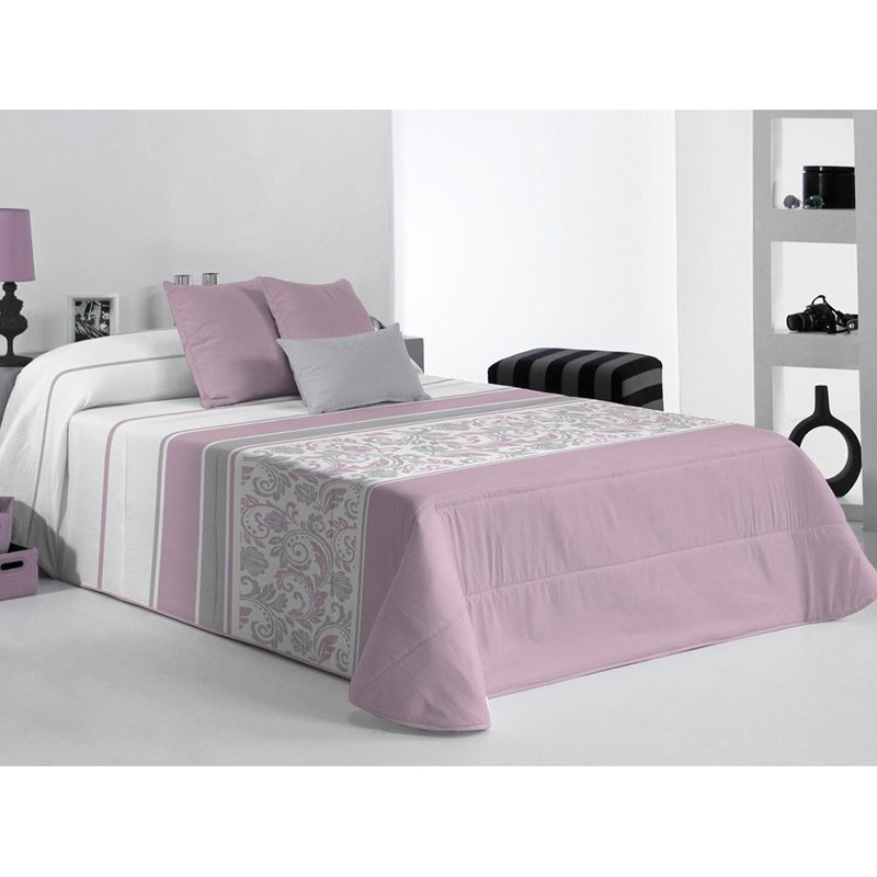 Cuvertura de pat cu model elegant Fanion lila cu gri si alb