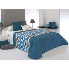 Cuvertura de pat cu model geometric Morgan albastru cu gri si alb