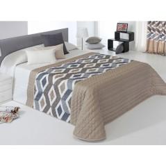 Cuvertura de pat cu model geometric Morgan bej cu gri si alb