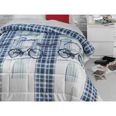 Cuvertura de pat cu biciclete albastru cu alb