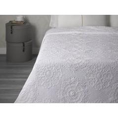 Cuvertura de pat bumbac cu model floral Makemo alb