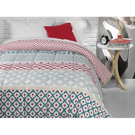 Cuvertura de pat Mabel cu imprimeu gri si rosu pe fond alb
