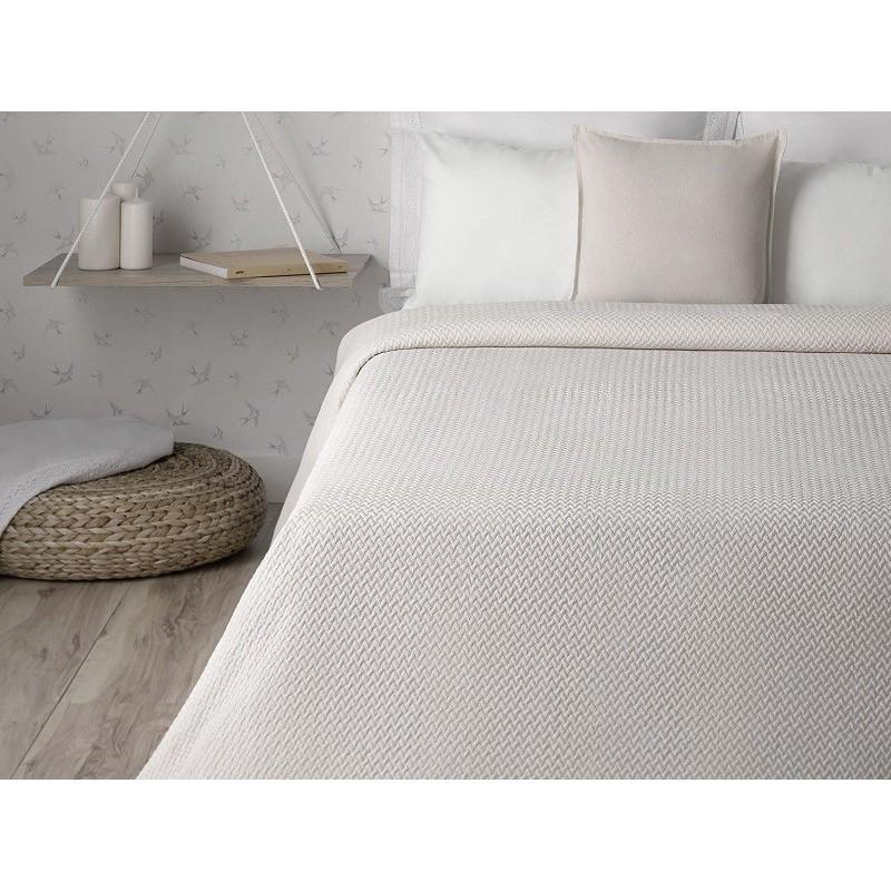 Cuvertura de pat din bumbac simpla Makatea bej
