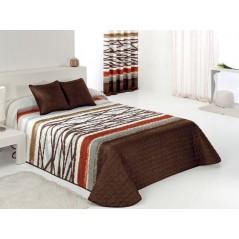 Cuvertura de pat cu imprimeu modern Azibar maro cu alb