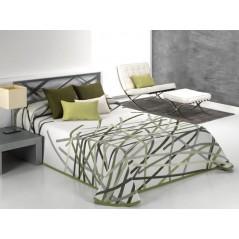 Cuvertura de pat reversibila Bastian verde si alb