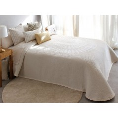 Cuvertura de pat reversibila Brandy alb cu bej