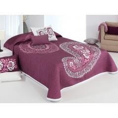 Cuvertura de pat reversibila Blaze mov cu alb