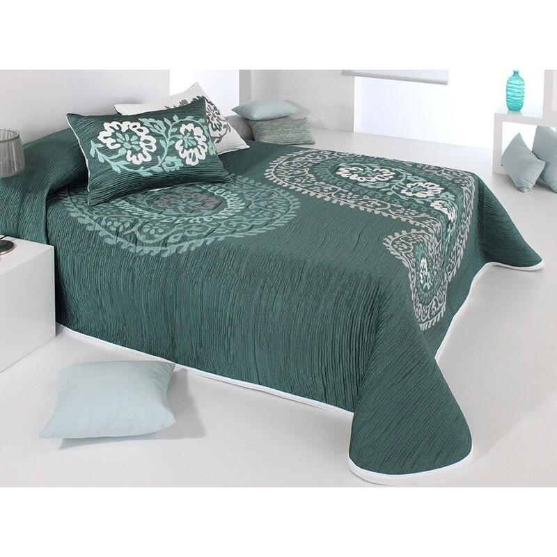 Cuvertura de pat reversibila Blaze  verde turcoaz cu alb