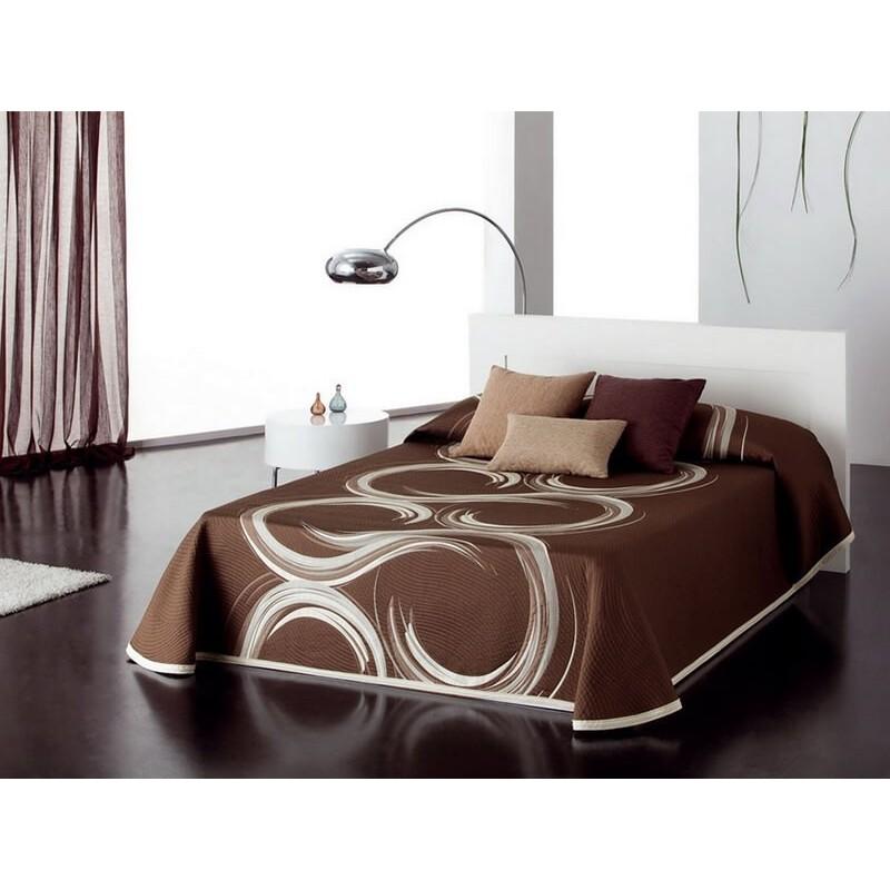Cuvertura de pat reversibila Aime crem cu maro