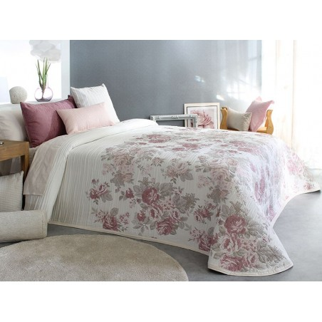 Cuvertura eleganta Silvan cu flori pale grena si roz