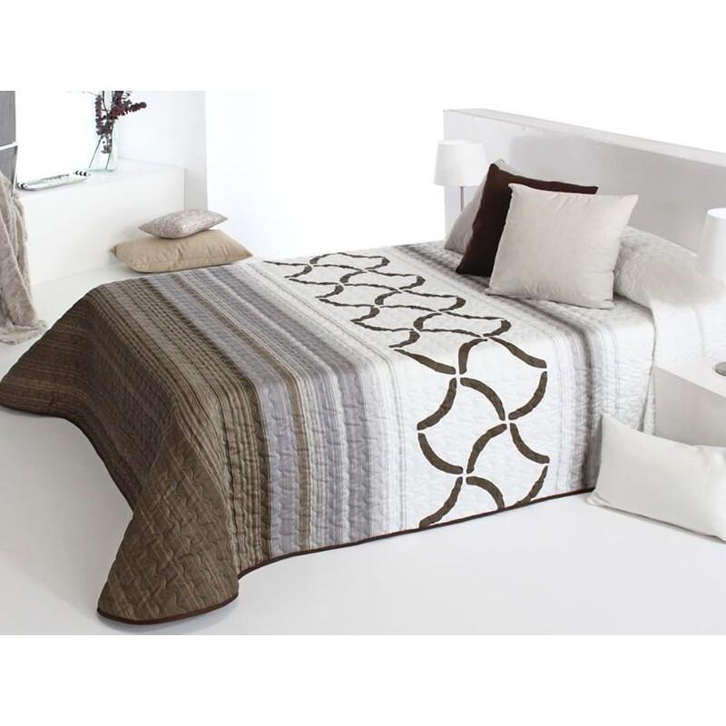 Cuvertura de pat moderna Twist 2P maro cu gri si alb